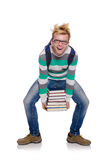 Grappige student met stapel Royalty-vrije Stock Foto's