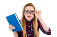 Grappige student met stapel Stock Afbeelding