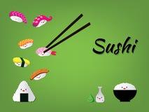 Grappige sushikarakters Aziatisch voedsel, illustratie die op witte achtergrond wordt geïsoleerd vector illustratie