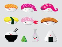Grappige sushikarakters Aziatisch voedsel, illustratie die op witte achtergrond wordt ge?soleerd royalty-vrije illustratie