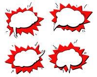 Grappige tekstgeluidseffecten De vector de toespraakuitdrukking van het bellenpictogram, uitdrukking van de het etiketmarkering v royalty-vrije illustratie