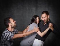 Grappige threesome problemen Stock Afbeeldingen