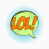 Grappige toespraakbel met emoties - LOL Beeldverhaalschets van dialooggevolgen in pop-artstijl voor punten halftone achtergrond V stock illustratie
