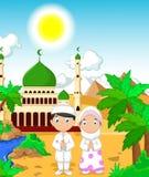 Grappige twee moslims voor de achtergrond van het moskeelandschap vector illustratie
