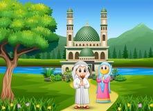 Grappige twee moslims voor moskeeachtergrond stock illustratie