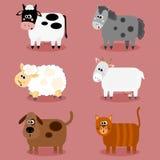 Grappige van landbouwbedrijfdieren en huisdieren inzameling Stock Afbeelding