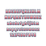 Grappige van letters voorziende 3d doopvont Vector alfabet Doopvont van het hand de Van letters voorziende manuscript Typografiea Stock Illustratie