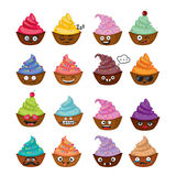 Grappige vector cupcakes Stock Foto's