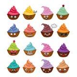Grappige vector cupcakes Stock Foto's