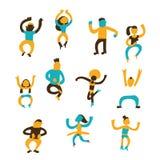 Grappige vectorhand getrokken dansende mensen doodle vector illustratie