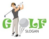 Grappige vectorillustratie die van gelukkige golfspeler de bal met een niblick raken Professioneel golfspeler speelgolf op de gol stock illustratie