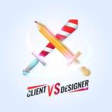 Grappige vectorillustratie van een Cliënt tegen de Ontwerper met het gekruiste zwaard en het potlood Heldere koele affiche vector illustratie