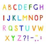 Grappige vectorreeks Engelse letterns, hand getrokken alfabet Royalty-vrije Stock Foto