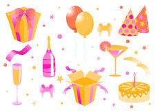 Grappige verjaardagspictogrammen Royalty-vrije Stock Afbeelding