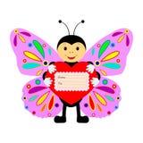 Grappige vlinder met hart op een witte achtergrond Stock Afbeelding