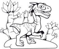 Grappige voorhistorische velociraptor, contourtekening, kleuringsboek royalty-vrije illustratie