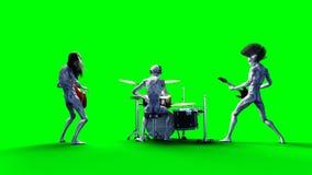 Grappige vreemde popgroep Baarzen, trommel, gitaar Realistische motie en huidshaders het 3d teruggeven royalty-vrije stock fotografie