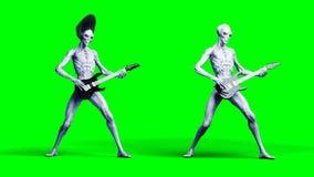 Grappige vreemde spelen op elektrische gitaar Realistische motie en huidshaders het 3d teruggeven stock foto's