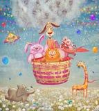 Grappige vriendschappelijke dieren in een luchtballon in de hemel Stock Foto