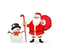 Grappige vriendschappelijke Santa Claus en sneeuwman Isoleer, zonder gradiënten stock illustratie