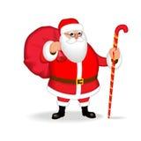 Grappige vriendschappelijke Santa Claus Isoleer, zonder gradiënten royalty-vrije illustratie
