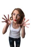 Grappige vrouw met grappige hoofd geïsoleerdee schrik Stock Fotografie