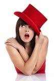 Grappige vrouw met rode hoed Stock Foto's