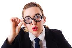 Grappige vrouw nerd royalty-vrije stock foto