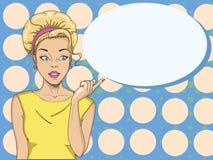 Grappige vrouw Verbaasde vrouwen Pop-artmeisje schoonheid vector illustratie