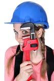Grappige vrouwelijke handarbeider Stock Afbeeldingen