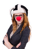 Grappige vrouwenclown Stock Foto
