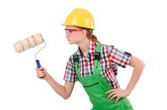 Grappige vrouwenschilder in geïsoleerd bouwconcept Stock Foto