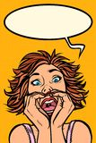 Grappige vrouwenschreeuwen, vreemde gelaatsuitdrukkingen vector illustratie