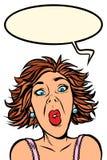 Grappige vrouwenschreeuwen, vreemde gelaatsuitdrukkingen royalty-vrije illustratie