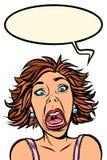Grappige vrouwenschreeuwen, vreemde gelaatsuitdrukkingen stock illustratie