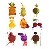 Grappige vruchten beeldverhaalset van tekens, mensen in de vectorillustraties van fruitkostuums Stock Afbeelding