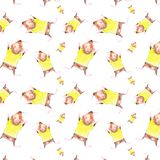 Grappige waterverfillustratie van vliegend Proefkonijn in een gele t-shirt Geïsoleerdj op witte achtergrond Naadloos patroon stock illustratie