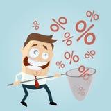 Grappige zakenman die percententekens vangen Royalty-vrije Stock Foto's