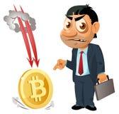 Grappige zakenman die vinger richten op bitcoin het vallen stock fotografie