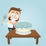 Grappige zakenman met grote cake en vork Stock Afbeelding