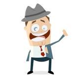 Grappige zakenman met hoed en jasje Stock Fotografie