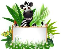 Grappige zebra met leeg teken Royalty-vrije Stock Foto