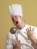 Grappige zingende chef-kok Royalty-vrije Stock Afbeeldingen