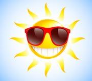 Grappige zon met zonnebril Vector illustratieachtergrond Royalty-vrije Stock Foto's