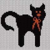 Grappige Zwarte kat met rode band over wit Stock Fotografie