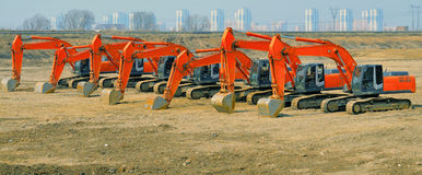 Grapple dredgers on the big building area Stock Images