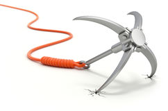 Grappling hook with orange rope Royalty Free Stock Image