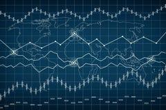 Grapth e istogramma di affari Esamini in controluce il grafico del grafico del bastone del commercio di investimento del mercato  Immagine Stock Libera da Diritti