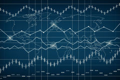 Grapth y carta de barra del negocio Mire al trasluz la carta del gráfico del palillo del comercio de la inversión del mercado de  Imagen de archivo libre de regalías