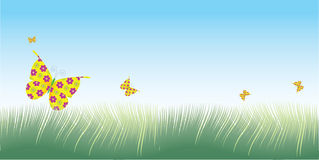 Gras & vlindersvector Stock Afbeeldingen